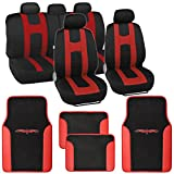 "BDK Sport Series ""Rome Sport"" Black/Red Stripe Seat Covers w/ Split Bench"