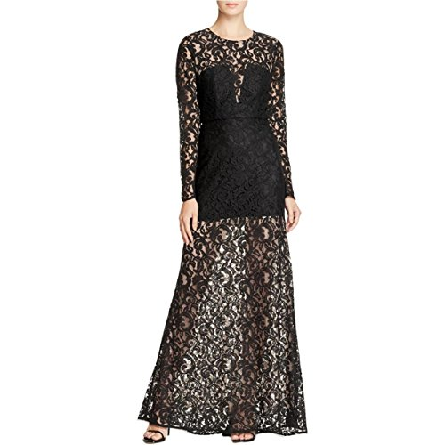 BCBG Max Azria Womens Veira Long Sleeves Illusion Lace Formal Dress Black 4 Bcbg Lace Dress