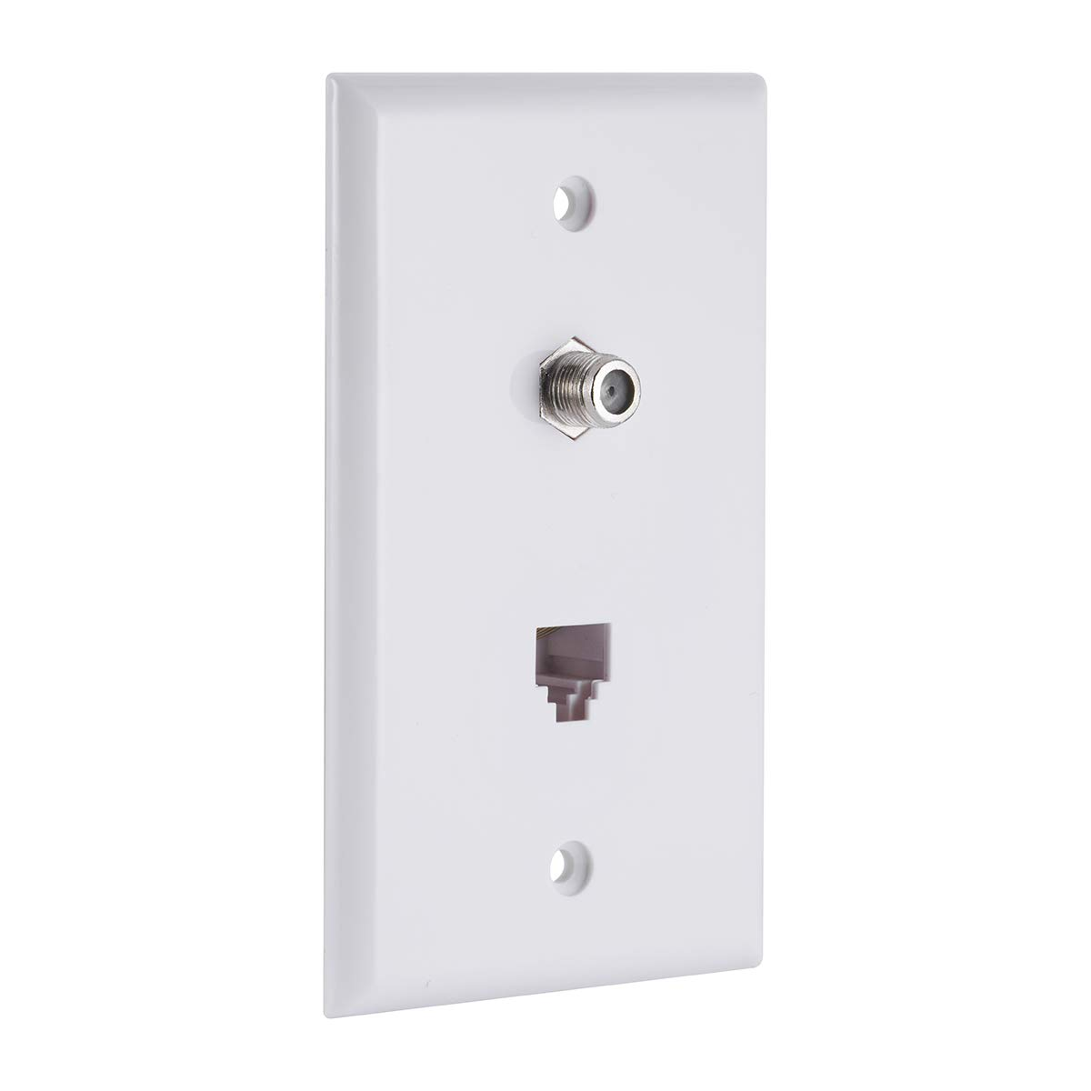 GE Coaxial and Telephone Jack Wall Plate, 1 Pack, Single Gang Box, Coax, Phone, Mounting Hardware Included, White, 40093