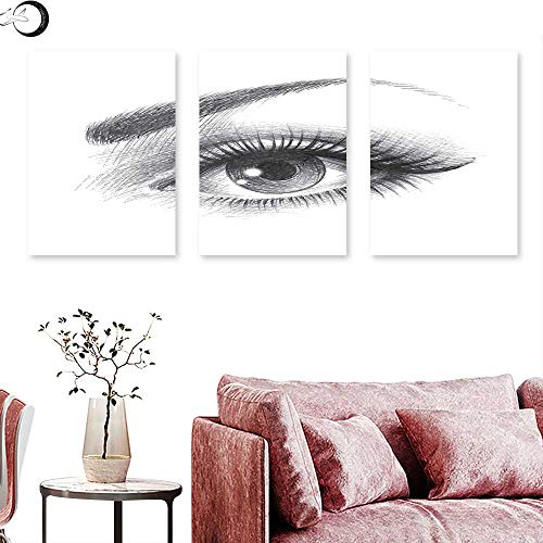 J Chief Sky Eye Canvas Wall Art Pencil Drawing Artwork of a Staring Female Eye with Long Lashes and a Curvy Eyebrow Wall Painting Grey White Triptych Art Canvas W (Best Linon Jewelry Boxes)