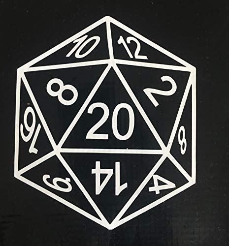 (POPCultureSigns 20 Sided Die Vinyl Decal 2 Qty D20 D&D RPG Gaming 4 Inch Car Laptop White)