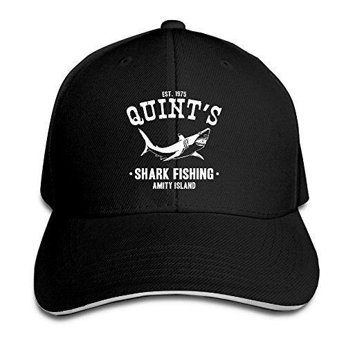 Macevoy Quints Shark Fishing Jaws Casual Unisex Unstructured Cotton Cap Adjustable Baseball Hat Cap Black -