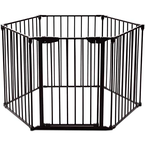 Safety Gate Fireplace Fence Hearth Guard for Baby Pet Dog Cat BBQ Metal Fire Gate Protection Fireguard 6 Sides(Black) ()
