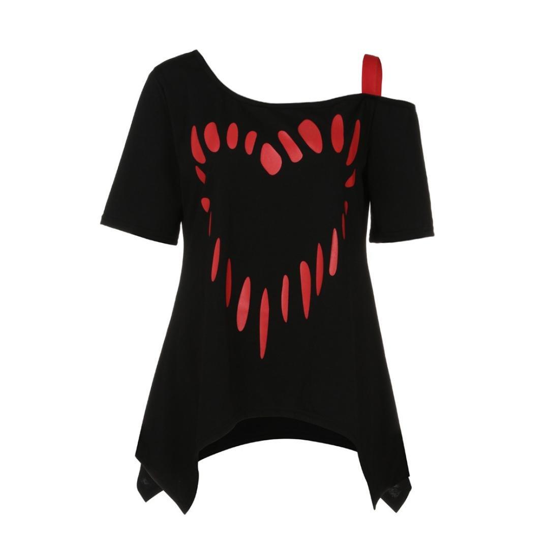KaiCran Large Size Women Love Printing Shirt Short Sleeve Top Casual Tunic Shirt (Black, XXXXLarge)