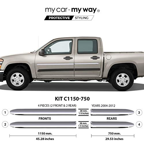 MY CAR MY WAY (Fits) Chevrolet Colorado 2004-2012 Crew Chrome Body Side Molding Cover Trim Door Protector