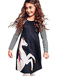 Toddler Baby Girl Kid Clothes Horse Stripe Print Princess Party Dress