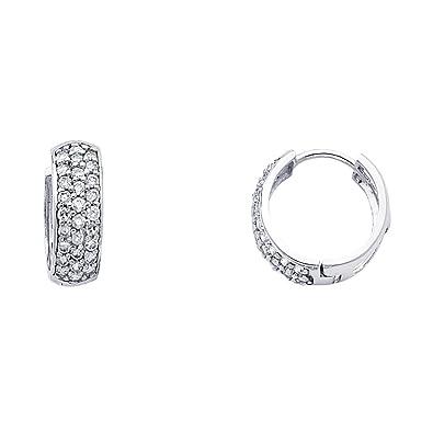858eac214e5 Amazon.com: Solid 14k White Gold CZ Huggie Hoop Earrings Huggies ...