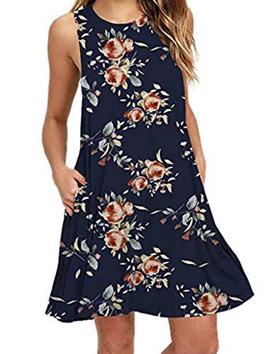 Jersey Knit Tank Dress - Women Tank Dress Navy Blue Floral Vacation Tropical Dresses Sleeveless Blue 2XL