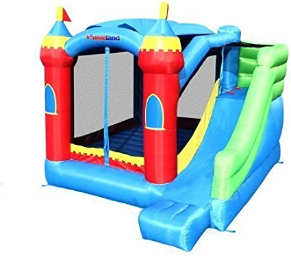Bounce-House,-with-Long-Slide,-Large-Bouncing-Area,-Basketball-Hoop-and-Sun-Roof