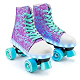 Xootz Canvas Boot Quad Roller Skates for Kids with LED Lights - Size 1