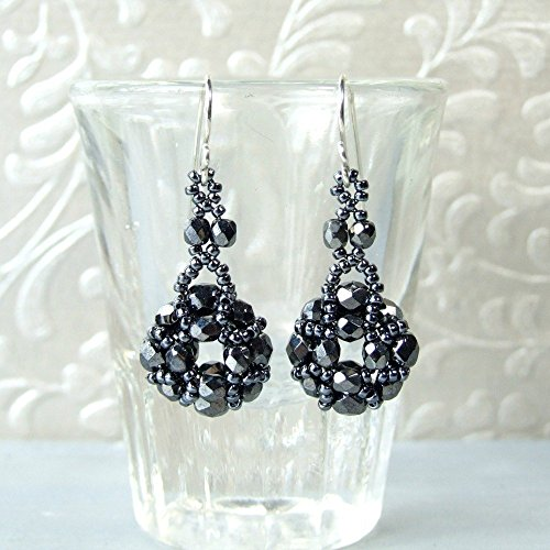 Beaded Dark Grey Vintage Style Small Dangle Drop Unique Glass Earrings - Handmade Sterling Silver Jewelry for Women - Gifts for Her ()
