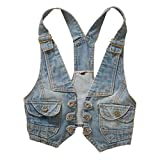 George Jimmy Sleeveless Denim Jacket Spring&Summer Vest Solid Color College Style