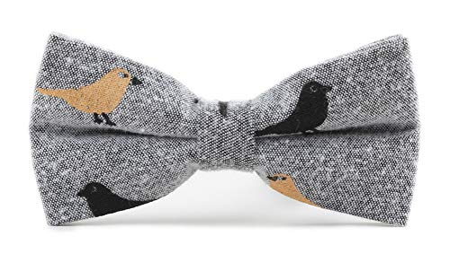 Men's Boys Grey Animal Pre-tied Bow Ties Bird Patterned Unisex Holiday Dress up Bowties Cravat