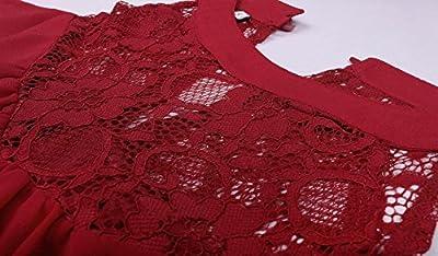 DREAGAL Women's Sleeveless Lace Patchwork Loose Casual Mini Chiffon Dress