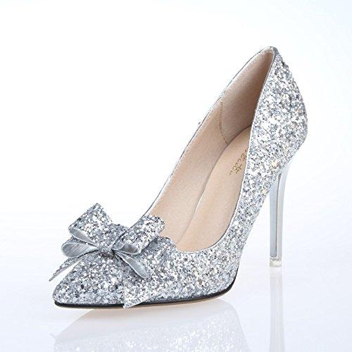 tallone Moda damigella Sandali solo sharp matrimonio da alto Ajunr scarpe 38 Alla 9 scarpe Donna le d'onore matrimonio 36 7cm Da d'argento 5cm argento tacco scarpe PAqRI