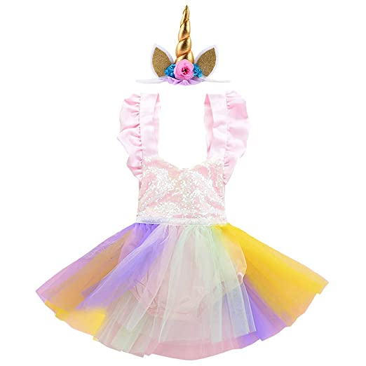 fc514c8e829 Amazon.com  Unicorn Rainbow Outfit Baby Girl Sequins Romper Dress Ruffle  Tulle Skirt + Horn Headband 1st Birthday Party Costume Set  Clothing