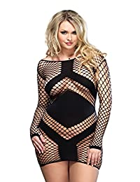 Leg Avenue Women's Plus Size Diamond Net Long Sleeved Mini Dress
