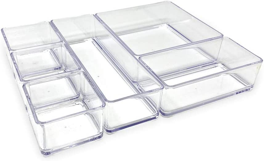 Isaac Jacobs 6-Tray Clear Acrylic Organizer Set, (Six Individual Trays), Multi-Purpose, Stackable Storage Solution for Makeup, Crafts, Desk, School, Office Supplies & More, for Bathroom, Kitchen