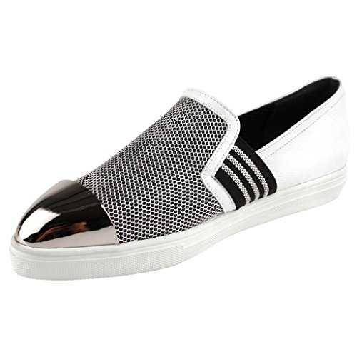 Che evoca Womens Slim Zebra Nickel Slip On Leather Loafers Shoes White Qs9ICgIWT