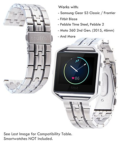 Truffol 22mm Metal Band for Samsung Gear S3 Frontier & Classic, Fitbit Blaze, Huawei Watch 2 Classic - Quick Release Stainless Steel Strap Wristband (Silver&Black)