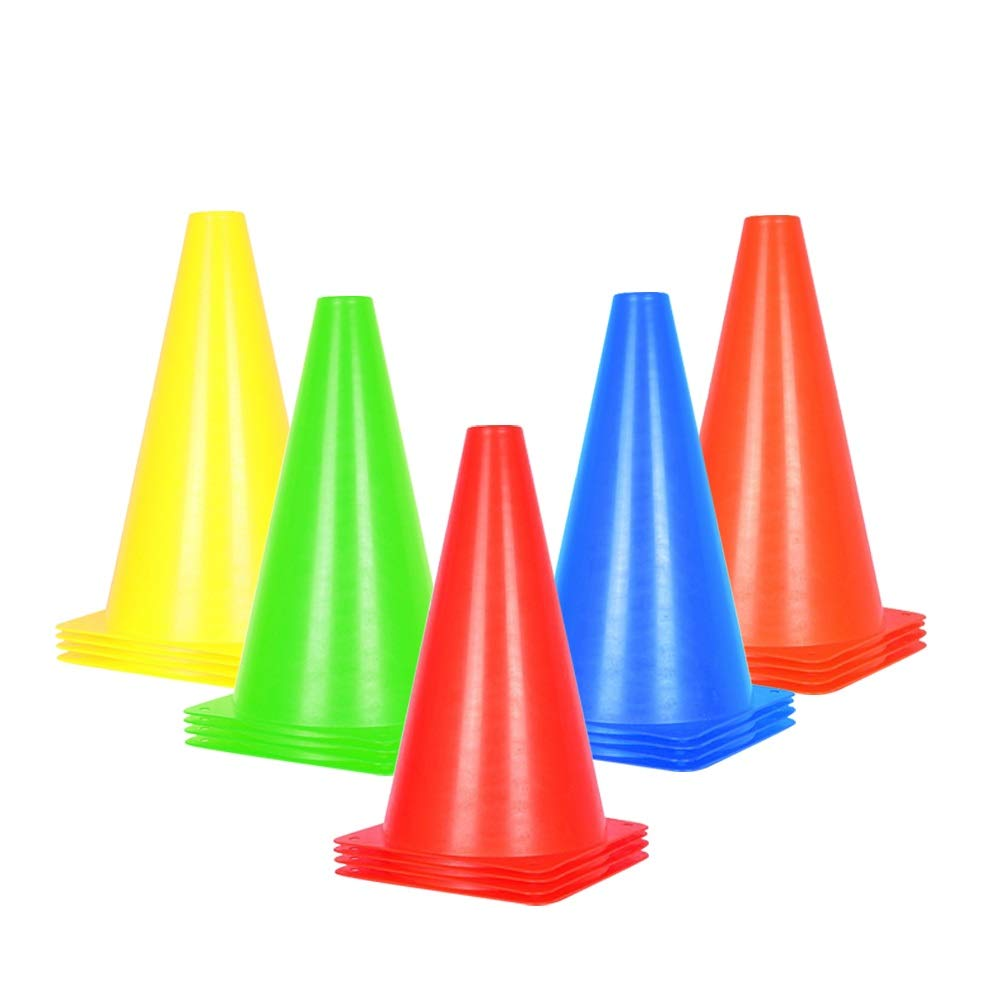 Alyoen 9 inch Traffic Cones - 20 Pack Soccer Training Cones for Outdoor Activity & Festive Events- 5 Colors (Set of 20, 5 Colors)