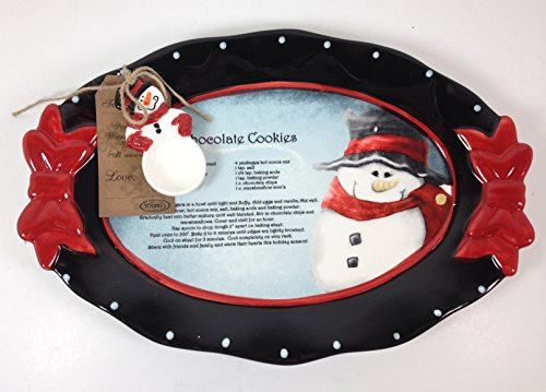 Young's Ceramic Snowman Recipe Platter with Spoon 96140
