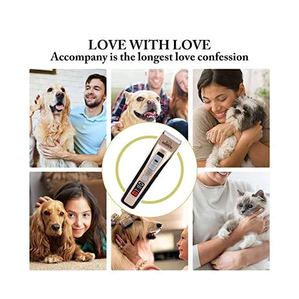 GOFUN Dog Clippers, 5 Speed Cordless Low Noise Pet Clippers Dog Trimmer for Dogs Cats Horses with LCD Screen Indicate Power/Oil/Cleaning 5