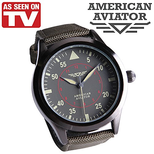 American Aviator ASOTV Men's Quartz Metal and Nylon Casual Watch Green Band by As Seen On TV