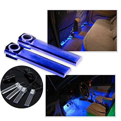 New Arrival 4 in 1 12v Car Auto Interior LED Atmosphere Lights Decoration Lamp Blue