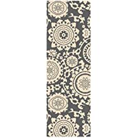 Custom Size Grey Floral Medallion Rubber Backed Non-Slip Hallway Stair Runner Rug Carpet 31 inch Wide Choose Your Length 31in X 12ft