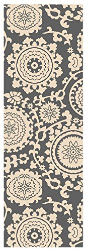 Custom Size Grey Floral Medallion Rubber Backed Non-Slip Hallway Stair Runner Rug Carpet 22 inch Wide Choose Your Length 22in X 9ft