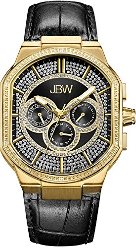 JBW Luxury Men's Orion 0.12 Carat Diamond Wrist Watch with Leather Bracelet
