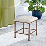 Backless Vanity Stool Cushion is Accented in an Oatmeal-hued Fabric Metal Construction Golden Bronze Finish Upholstery Color is Cream