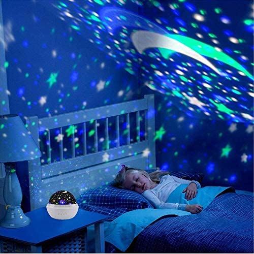 Jiawin Star Night Light Lamp,Romantic Star Projector 360 Degree Rotating Color Changing with USB Cable for Kids,Baby,Adult Nursery Bedroom Living Room (Pink)