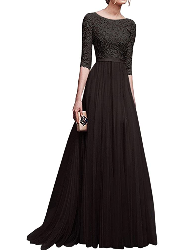 Jitong Donna Vestito Lungo Girocollo Pizzo Mezza Manica Abito da Sera Elegante Vestiti da Cerimonia