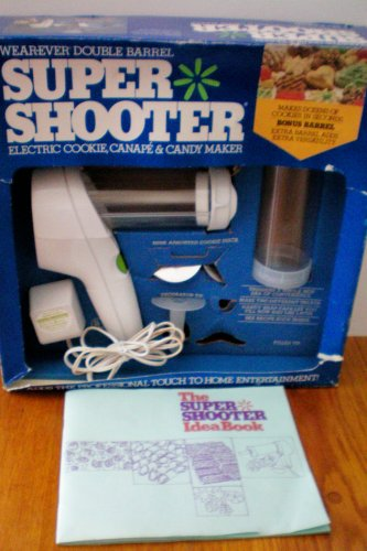 Wearever Double Barrel Super Shooter Electric Cookie, Canape & Candy Maker with Idea Book Recipe Cookbook