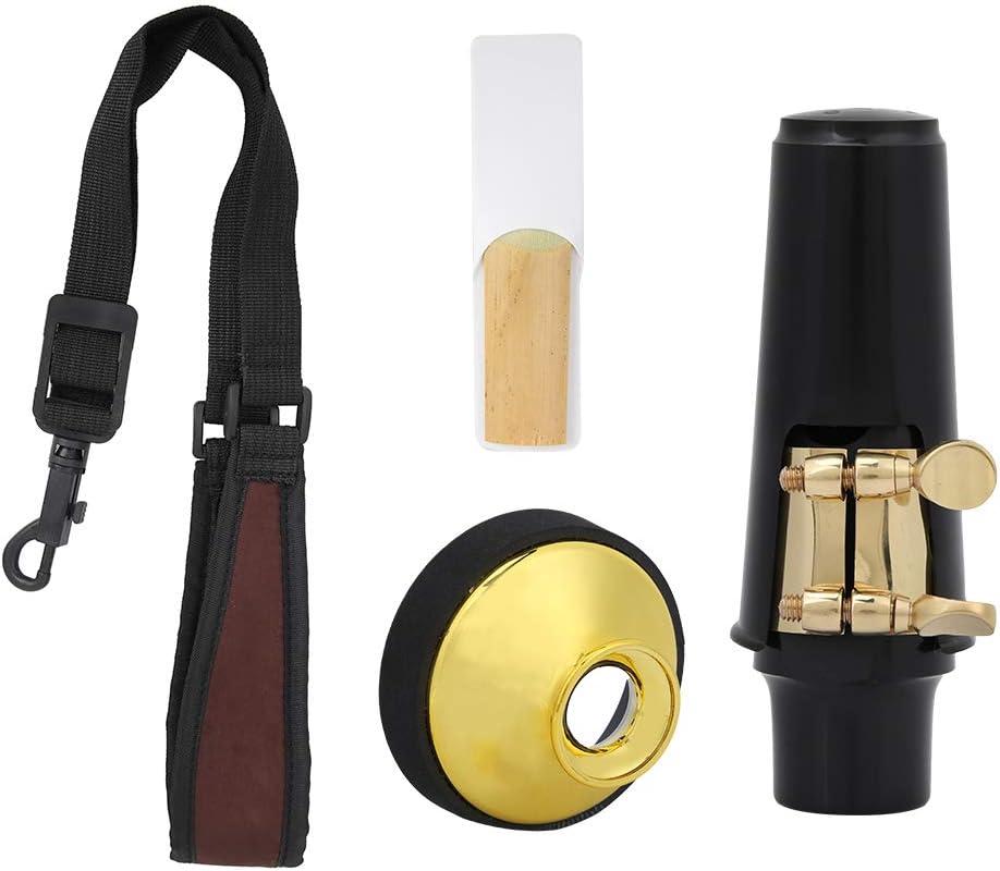 silenciador Bicaquu Juego de boquillas para saxof/ón Alto 4 en 1 Boquilla para saxof/ón silenciador Correa para el Cuello