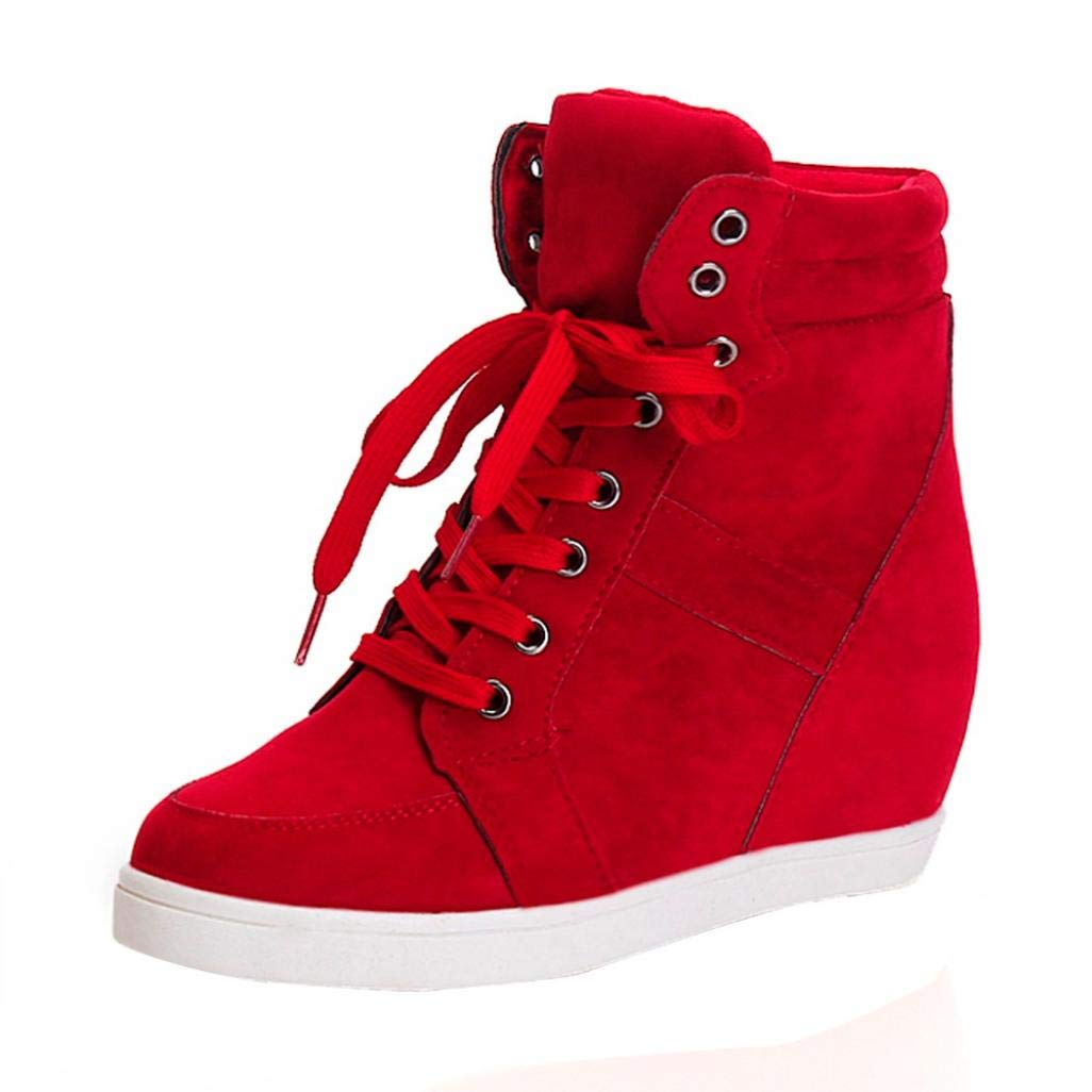 haoricu Fashion Women Round Toe Lace-up Wedge Ankle Bootie Leather Boots High Heel Party Shoes