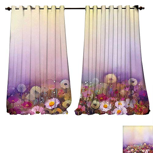 fengruiyanjing-Home Printed Thermal Insulated Bedroom Blackout Curtains Watercolor Flower Bed Different Blossoms Types Fresh Romantic Garden Paint Lilac Pink Bedroom Set (W120 x L72 -Inch 2 Panels)