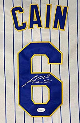 premium selection 8c2c0 a4615 Lorenzo Cain Milwaukee Brewers Signed Autographed White ...