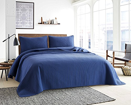 Style Homes 3-Piece Luxury Quilt Set with Sham(s), Ultra Soft Microfiber Bedspread and Coverlet with Half inch Channel Stitch Design, Oversized, King, Blue Indigo by Style Homes (Image #2)