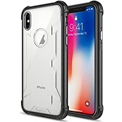 iPhone X Case,iPhone 10 Case,Atouchbo [Shock Reduction] Reinforced Corner TPU Bumper + Hard PC Back Cover Military Grade Extreme Drop Tested Heavy Duty Protective Cover - Black