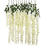 Labellevie 12 Pcs Artificial Wisteria Vine Ratta Silk Flowers for Garden Wedding Home Decor (White)