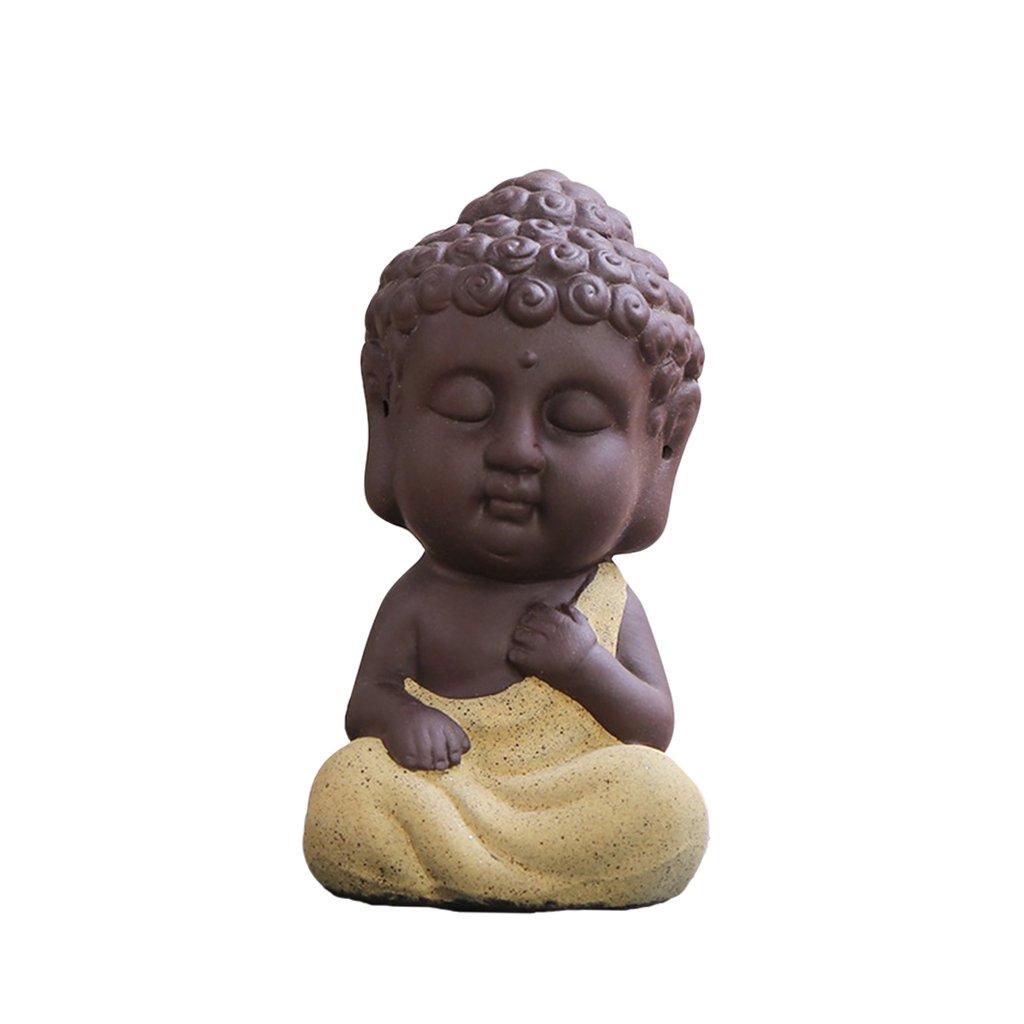Sharplace Statua Scultura Statuetta Di Buddha Monaco Decrazione In Miniatura Per Cerimonia Tè Tavola - verde