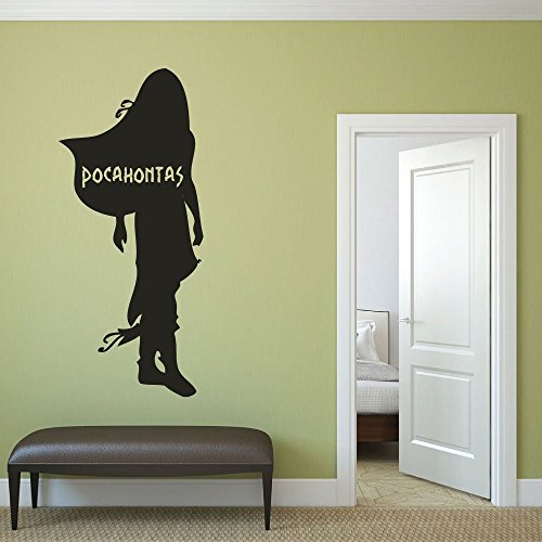 Princess Pocahontas Vinyl Wall Decal, Little Girls Room, Disney Princess Party, Baby Girl Nursery ()