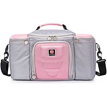 Fitness Gym Meal Prep Bag Insulated Lunch With Drink Cooler Compartment Pink