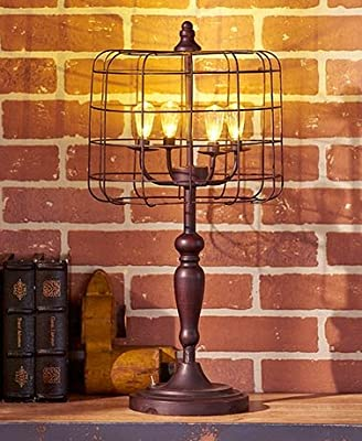 Battery Operated Vintage Style Bulb Light Bronze Caged Lamp