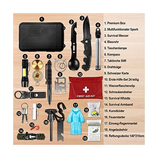 51rzE3IJz7S LC-dolida Survival Kit 15 in 1, Außen Notfall Survival Kit mit Messer/Taktische Taschenlampe für Camping/Bushcraft…