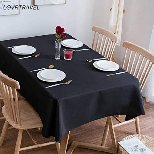 Mantel Rectangular solido Negro Camp Hotel Fiesta de Bodas Mantel Cuadrado Mesa de Comedor y Cubierta de Mesa de cafe 140X280cm Negro