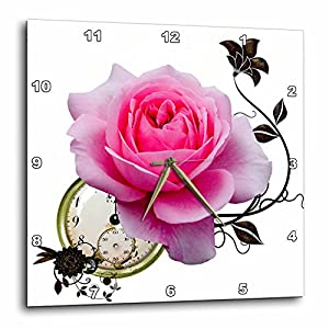 3dRose Steampunk Pink Rose Design-Wall Clock, 15-inch (DPP_102674_3)